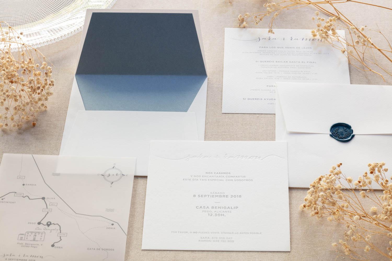 Invitación Azul Acqua Letterpress
